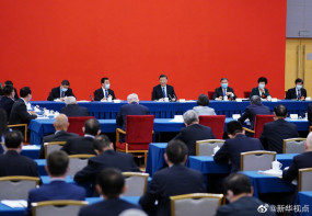 शी चिनफिंग की सीपीपीसीसी के आर्थिक जगत दल की बैठक में भागीदारी