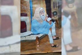 अमिताभ के दिव्यांग प्रशंसक ने पैरों से उनकी पेंटिंग बनाई