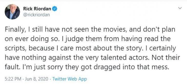 पर्सी जैक्सन के लेखक ने उपन्यास के फिल्मी वर्जन की आलोचना की