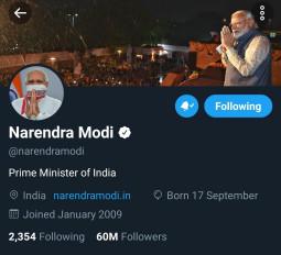 प्रधानमंत्री मोदी के ट्विटर पर फॉलोअर्स हुए 6 करोड़