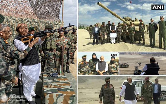 Rajnath Leh Visit: लेह में फॉरवर्ड लोकेशन पर जायजा लेने के बाद श्रीनगर पहुंचे रक्षामंत्री