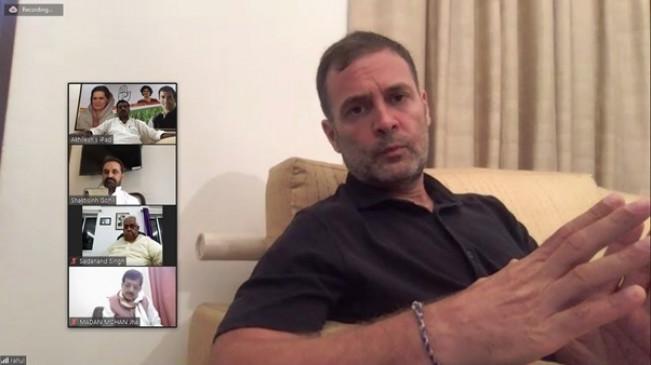 राहुल गांधी ने बिहार कांग्रेस के नेताओं संग चुनाव पर की वर्चुअल चर्चा
