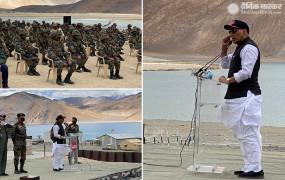 Rajnath in Leh: राजनाथ सिंह ने कहा- हमारी एक इंच जमीन कोई छीन नहीं सकता