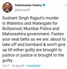 सुशांत की हत्या बॉलीवुड, मुंबई पुलिस, महाराष्ट्र सरकार के लिए वाटरलू, वाटरगेट : स्वामी