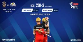 RCB vs MI Live: मुंबई का तीसरा विकेट गिरा, डी कॉक 14 रन बनाकर आउट, बेंगलुरु ने 202 रन का टारगेट दिया