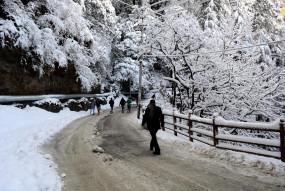 हिमाचल के केलोंग में हुई मौसम की पहली बर्फबारी