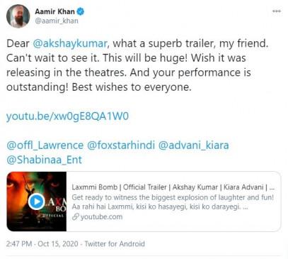 आशा करता हूं कि लक्ष्मी बम थियेटर में रिलीज हो : आमिर खान