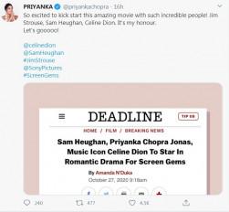 हॉलीवुड में सेलीन डायोन, सैम हेगन के साथ कॉमेडी फिल्म करेंगी प्रियंका चोपड़ा