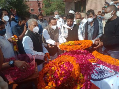 राजकीय सम्मान से मेघवाल का अंतिम संस्कार मुख्यमंत्री की ओर से ऊर्जा मंत्री ने पुष्पचक्र अर्पित कर दी श्रद्धांजलि