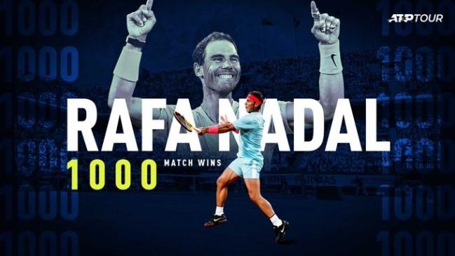 टेनिस: नडाल 1000 मैच जीतने वाले क्लब में शामिल