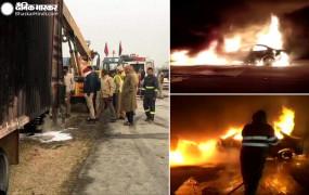 यमुना एक्प्रेसवे पर कंटेनर से टकराने पर कार में लगी आग, 5 जिंदा जले