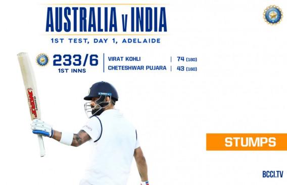 India vs Australia Day 1st: टीम इंडिया ने 233 पर गंवाए 6 विकेट, विराट की टेस्ट करियर में 22वीं फिफ्टी