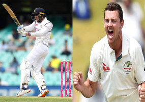 AUSvIND : बर्थ-डे बॉय हेजलवुड ने दिया भारत को पहला झटका, भारत का स्कोर 96/2