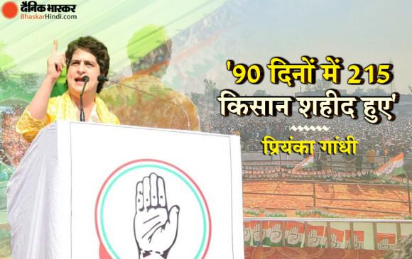 UP: प्रियंका गांधी ने मुजफ्फरनगर में किसान महापंचायत में कहा- '90 दिनों में 215 किसान शहीद हुए'