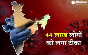 भारत में कोरोना: अबतक 44 लाख से ज्यादा लोगों को लगा टीका, एक्टिव मरीजों की संख्या 2 लाख से कम हुई