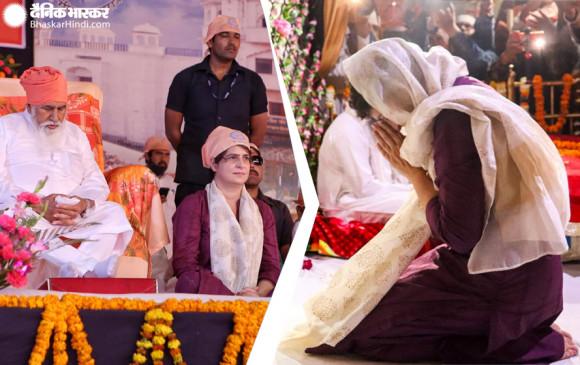 मोदी के गढ़ में प्रियंका गांधी, काशी पहुंची, पैदल चलकर रविदास मंदिर में मत्था टेका