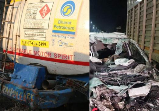 इंदौर में खड़े डंपर से टकाराई कार, 6 दोस्तों की मौत, दो दोस्त सीट से उछलकर बोनट पर आ गिरे