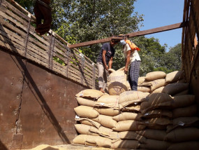 गरीबों की थाली पर डाका - राशन का गेहूं उतर रहा था निजी गोदाम में , ट्रक सहित 300 बोरी गेहूं जब्त