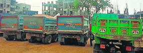 नेरी घाट पर अवैध रेत उत्खनन , 7 ट्रक जब्त, 9 गिरफ्तार
