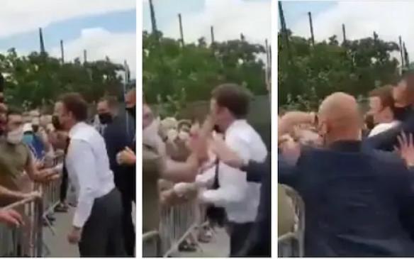 फ्रांस के राष्ट्रपति इमैनुएल मैक्रों को एक शख्स ने थप्पड़ मारा, दो लोग गिरफ्तार