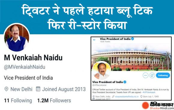 नए आईटी नियमों पर विवाद: भारत के उपराष्ट्रपति वैंकैया नायडू के ट्विटर अकाउंट से हटाया ब्लू टिक विवाद बढ़ता दिखा तो किया री-स्टोर